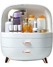 Make-up organizer, draagbare cosmetische opbergdoos met lade, hoog voet ontwerp, stofdicht en waterdicht, voor badkamerkasten en dressing tafels,White