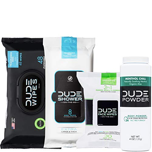 DUDE Wipes Flushable (48ct) DUDE Shower Body Wipes (8ct) DUDE Face Wipes (30ct) & DUDE Body Powder Menthol Chill (1 Bottle) - Head to Toe Ultimate DUDE Combo