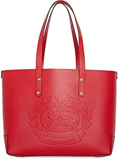 Red Rust Gold Small Tote Embossed Crest Handbag Bag New