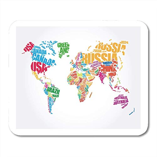 """Mouse Pads Flat World Map in Word Cloud Names of Countries Global America Typographic Mouse pad 9.5\"""" x 7.9\"""" for Notebooks,Desktop Computers Accessories Mini Office Supplies Mouse Mats"""