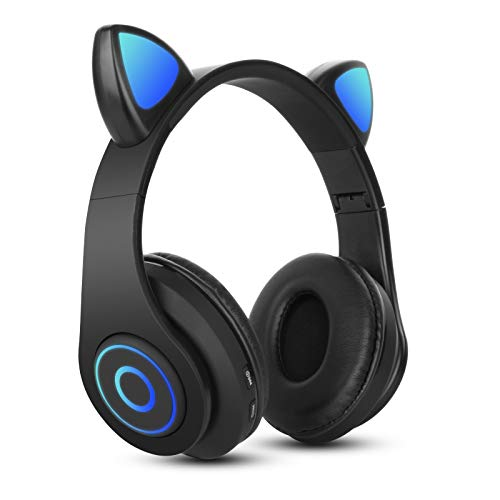 Bluetooth Over-Ear Kopfhörer Schwarz, Sendowtek Kinder Katzenohr Kopfhörer mit LED-licht Faltbare Stereo Kopfhörer Kabellose, Kopfhörer Headsets für Kinder mit Mikrofon, Micro SD/TF, für Tablet/PC/TV