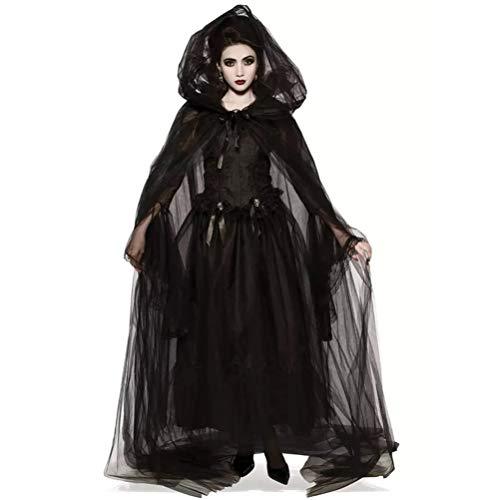 Surenhap Disfraz de Halloween para mujer, retro, capa negra con capucha, disfraz de vampiro, pequeño