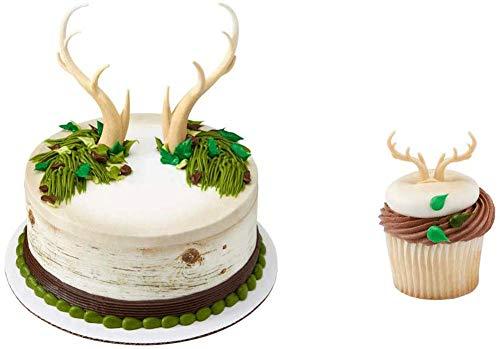 Deer Antlers Cake Topper & 12 Pack Deer Antler Cupcake Rings