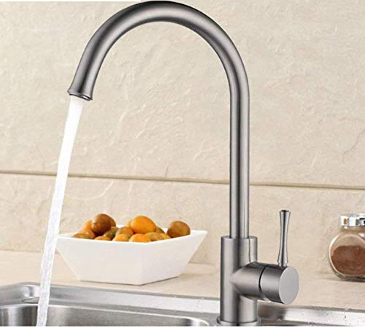 Kitchen fauct Kitchen Faucet Stainless Steel Kitchen Faucet Vegetables Basin hot and Cold taps redatable Faucet (color   -, Size   -)