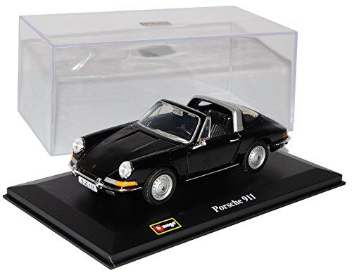 Bburago Porsche 911 Urmodell Targa Schwarz 1963-1973 1/32 Modell Auto mit individiuellem Wunschkennzeichen