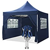 YUEBO Gazebo 3x3m Tonnelle Pliante imperméable Barnum Pliant Pavillon Tente Pliante avec 4 côtés Tonnelle de Jardin