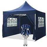 YUEBO Falt Pavillon 3x3m Wasserdicht mit 4 Seitenteilen Faltpavillon Wasserdicht Gartenpavillon Popup Pavillon Faltbar Partyzelt Blau