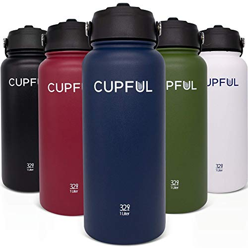 Cupful Insulated Water Bottle – Reusable Double Wall Stainless Steel Flask Thermos with 2 Leakproof Lids Straw and Spout Top (Charcoal Blue, 32 oz)
