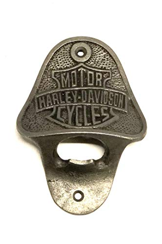 Harley Davidson - Apribottiglie da parete, realizzato in ghisa, uomo, grotta, pub, bar