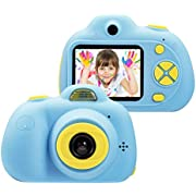 omzer 8MP Kids Digital Camera, 1080P HD Video Camera 2 inch LCD Screen Mini Children Camcorder for Kids with Soft Silicone Protective Shell Best Creative Gifts for Boys Girls Pink Blue Camo