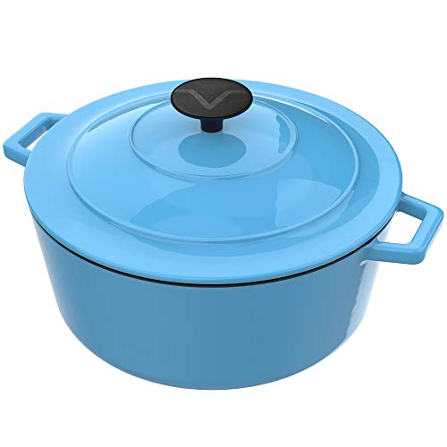 Vremi Enameled Cast Iron Dutch Oven Pot with Lid  6 Quart Capacity for Preparing Low and Slow Cooking Meals  Electric Gas Stove Top Compatible Cookware  Deep Large  Blue