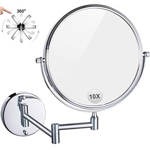 HGXC Espejo de Aumento 1X / 10X, Espejo de tocador Giratorio 360 de Doble Cara, Brazo telescópico de hasta 29 cm, para Afeitar el Dormitorio del baño