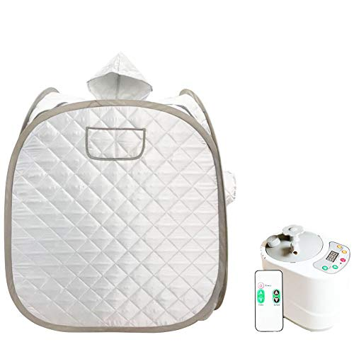 ZONEMEL Portable Steam Sauna, Health Eco-Friendly 2L Steamer with Remote Control,One Person or Two People for Detox & Weight Loss-Silver