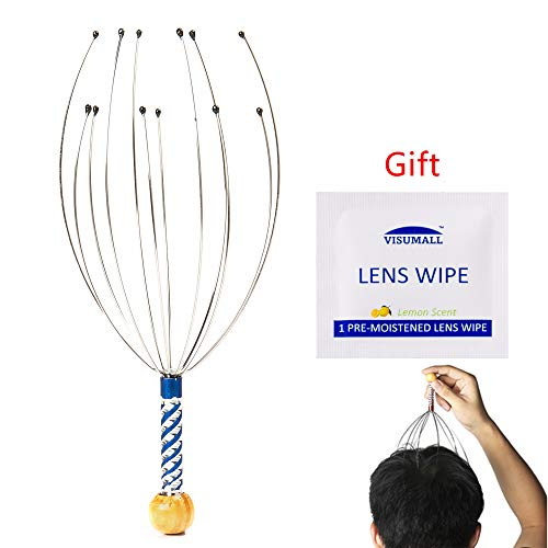 Buy Discount AMEISEYE Hand Held Scalp Head Massager Therapeutic Head Scratcher for Deep Relaxation with Lens Cleaning Wipe for Gift (1 Piece Scalp Massager/Colors Random