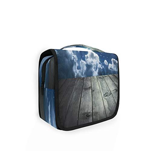 Trousse de toilette à suspendre en bois avec 4 compartiments