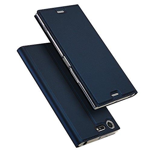 SMTR Sony Xperia XZ Premium Wallet Tasche Hülle - [Ultra Slim][Card Slot] Flip Wallet Hülle Etui für Sony Xperia XZ Premium - blau