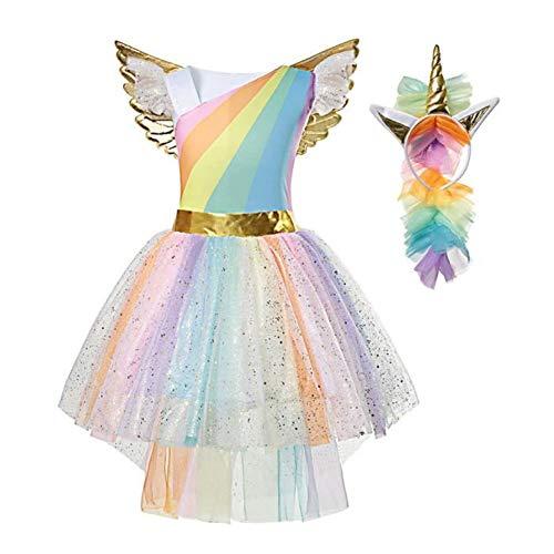 Mädchen Prinzessin Einhorn Kleid Kostüm, Rainbow (110-120 (Etikett 120),M (4-5 Jahre)