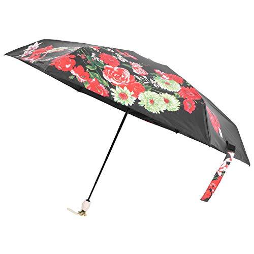 Wuji Winddichter Regenschirm, Tragbarer 6-Rippen-Regenschirm, 5-Faltbarer UV-Schutz-Regenschirm, Druckbarer Faltbarer Regenschirm für Reisen und Einkäufe Im Freien
