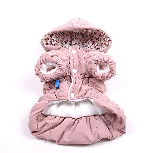 LILONGXI Ropa para Mascotas,Bonito Vestido Rosa Cálido con Capucha, Disfraz De Princesa para Mascotas, Invierno, Acogedor, A Prueba De Viento, Suave, Ropa Mediana, Perro De Cuatro Patas, Gato, XL