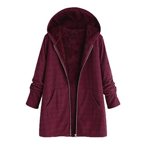 GreatestPAK Damen Baumwolle Plaid Plus Samt Kapuzenjacke Winter warm Tasche Retro Übergröße Baumwolle,Wein,Etiketten:L(Büste:110cm)