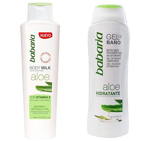 Crema Corporal Body Milk Aloe Vera Con Vitamina E y Acido Hialurónico y Gel de Baño Aloe Vera Babaria