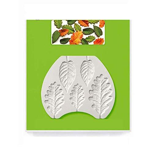 YK.Hapyshop Moule en silicone et résine époxy, motif feuille d'arbre en silicone, pour fondant, gâteau, chocolat, pâte à sucre – Couleur aléatoire