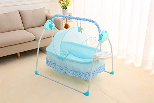 VAIY Electric Baby Bassinet Swing Remoter Control Sleeping Basket Bed Electric Big Auto-Swing Bed Baby Cradle Space Safe Crib Infant Rocker Cot + Mat (Color : Blue, Size : L115cm)