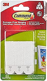 Command Medium Picture Hanging Strips, White,holds 6 lb