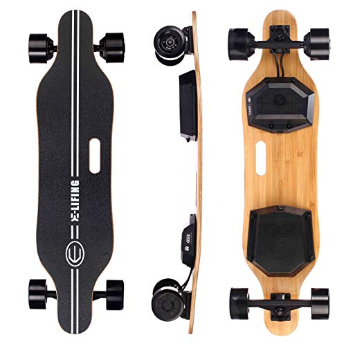 E-Lifing 37'' Electric Skateboard - Dual Drive Motorized Longboard with Remote Controller, Max 15 Miles 23 Mph, On-Road Cruiser Board for Beginner & Pro, Smooth Brake and Quick Acceleration