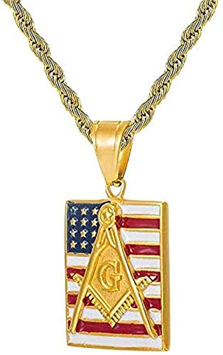 CCXXYANG Co.,ltd Necklace Hip Hop Iced Out Masonic American Flag Pave Rhinestone Stainless Steel Necklace & Pendants for Men Length 60Cm