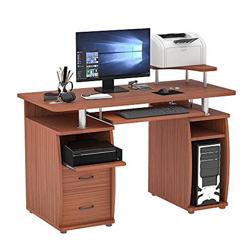 HOMCOM Multi-Function Computer Desk Home Office Workstation with Sliding Keyboard Tray, Elevated Shelf, Drawers and CPU Stand, Brown