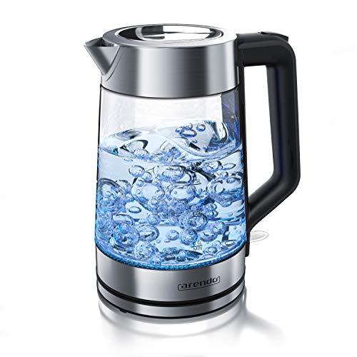 Arendo - Glas Wasserkocher mit LED Innenbeleuchtung - 1,7 Liter - Teekocher - Wasseraufbereiter - Wasserkessel - 2200 Watt – integrierter Kalkfilter - kabellos – blaue LED Beleuchtung - Edelstahl