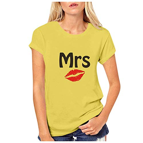 Dasongff Partner-shirt voor dames en heren, Mr Mrs, partner-look, set T-shirts voor koppels als geschenk X-Large geel/dames.