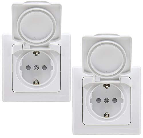Delphi - Enchufe con tapa (IP44, con marco, 230 V, 2 enchufes empotrables, protección de contacto, para ambientes húmedos y exteriores), color blanco