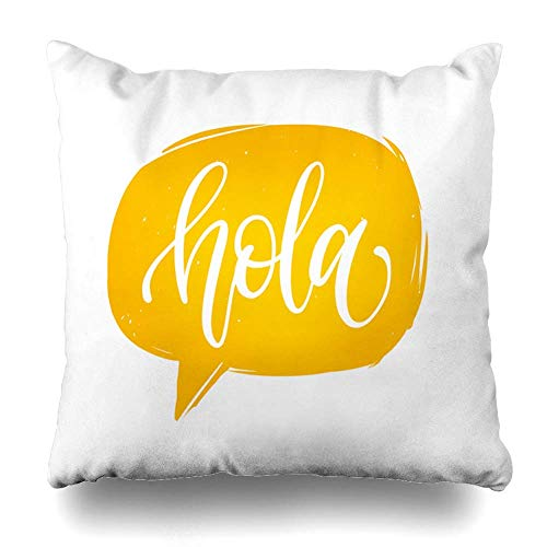 Fodera per cuscino per cuscino Parola Giallo moderno Hola Traduzione spagnola Ciao Spazzola Frase calligrafica Spagna Fodera per cuscino per arredamento casa diversa Federa per divano, 45X45 cm