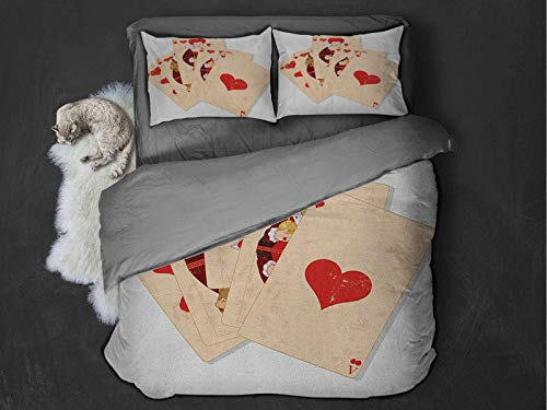 in Wonderland Extra large quilt cover Crown Gambler Queen Hearts Royal Fairy Flush Face Magic Theme Can be used as a quilt cover-lightweight (Full) Brown Red and Ecru