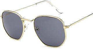 UKKO - Gafas de Sol Lentes De Sol De Moda Las Mujeres Pequeño Marco Poligonal Clara De La Lente del Marco De Alambre Hexagonal Gafas De Sol Hombre De La Vendimia