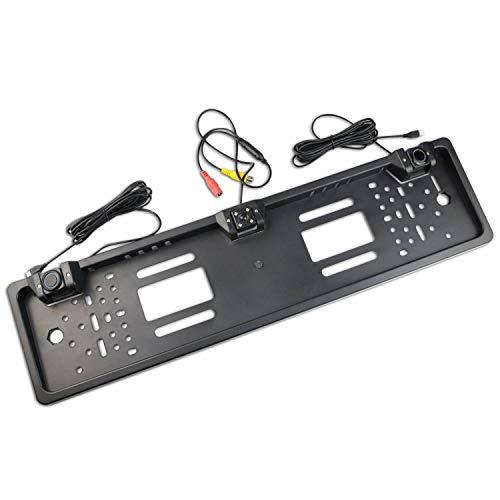 Kennzeichenhalter mit Rückfahrkamera und PDC-Sensoren für hinten in schwarz – ideal zum Nachrüsten einer Einparkhilfe – mit Ton – 2 Sensoren variabel einstellbar