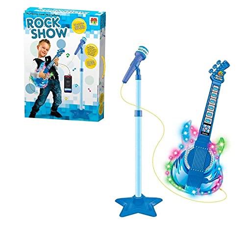 Guitarra infantil com microfone som e luz e entrada para celular rock show
