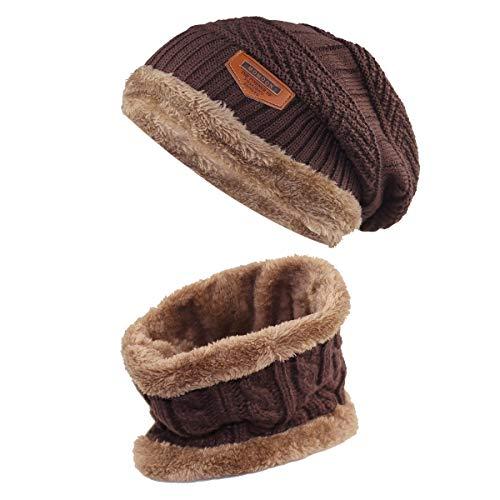 Momoon Dicke Beanie Hut +Schal Set Winter Warmen Schnee Knit Skull Cap für Kinder Jungen Mädchen(Suitable for 6-14, Kaffee, one size(fit teenager 6-14)