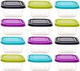 idea-station Vorratsdosen-Set mit Deckel 12 Stück, 300 ml, bunt, eckig, stapelbar, Tiefkühldosen, Frischhaltedosen, Aufbewahrungsboxen, spülmaschinenfest, mikrowellenfest