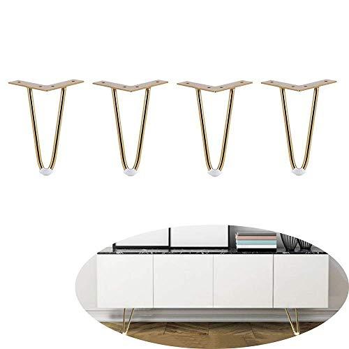 JXJ Furniture feet metal hairpin table legs coffee table chairs hairpin legs Height 12cm 15cm 18cm 20cm 25cm 30cm With screws set of 4-25cm gold