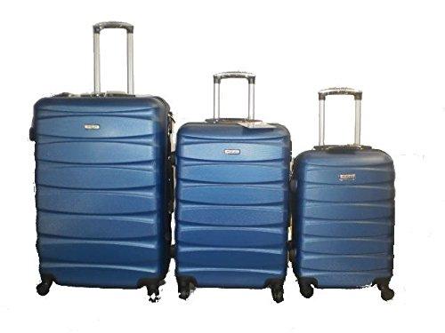 DZL Set 3 Trolley valigie rigide in ABS e policarbonato 4 ruote piroettanti colori vari (BLU)