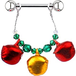 Handcrafted Holiday Jingle Bell Nipple Ring Set of 2 Created with Swarovski Crystals
