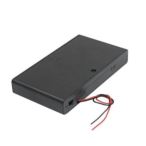 SODIAL(R) Zwei Anschlussleitungen ON / OFF-Schalter Schwarz 8 x 1,5 V AA Batteriehalter mit Deckel