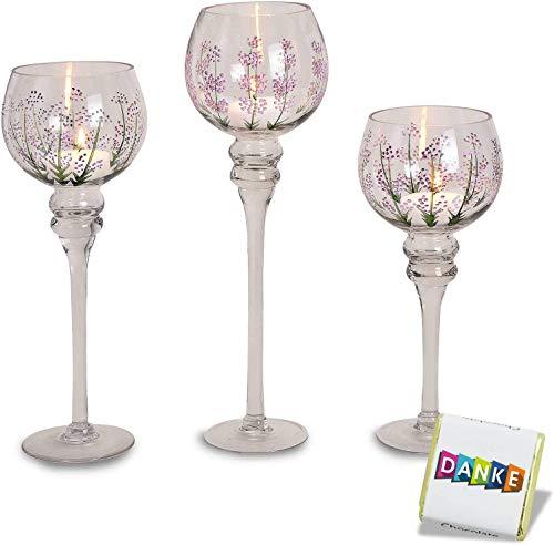 3 teiliges Glaskelch Windlicht Set | Kelche Struktur Top Design | Kerzenhalter auf Standfuß | 1A Geschenkidee | Kerzenständer im Set | Kerzenleuchter Höhe: 40, 35 & 30cm stylisch (Lavendel Dekor)