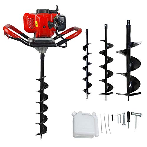 "ECO LLC 52cc 2.4HP Gas Powered Post Hole Digger with 3 Earth Auger Drill Bit 4"" & 6"" & 10"""