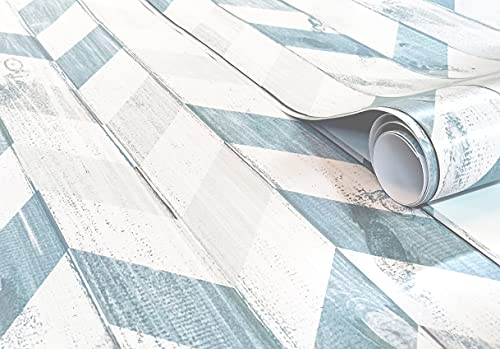 Vinilo Decorativo Para Pared y Muebles Papel Autoadhesivo Impermeable Textura Imitación Madera Espiga (250x62 cm, Espiga Azul)