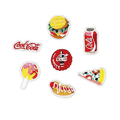 iron on patch,parches para ropa,Aplique de bordado, utilizado para decorar ropa para reparar agujeros en la ropa, Coca-Cola para hamburguesas 7 piezas