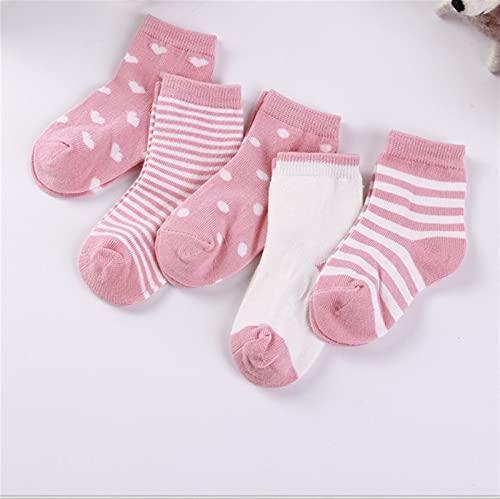 OUBALA Calcetines de Rayas Lindos para niños (Color : Pink, Kid Size : 4 to 6 Years)